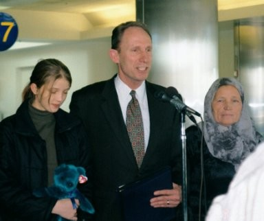 Amela Kovacevic, Portland Police Chief Mark A. Kroeker, (who found Amela and obtained the funds to save her life), and Amela's mother Ferida at the Los Angeles Airport.